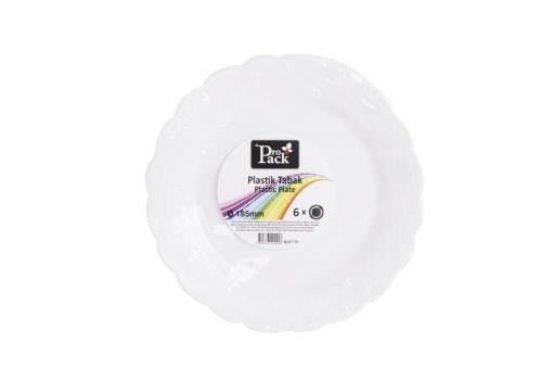 6Adet 185cm Beyaz Plastik Desenli KahvaltıTabak