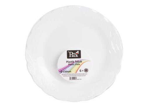 6Adt 23cm Beyaz Plastik  Desenli Yemek Tabak