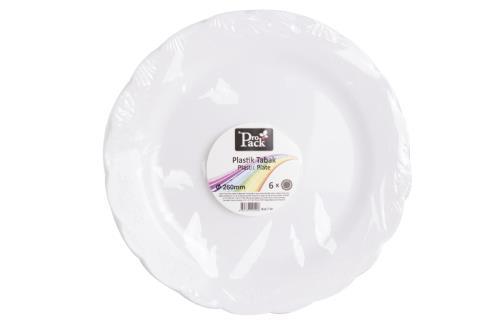 6Adet 26cm Beyaz Plastik Desenli Servis Tabak